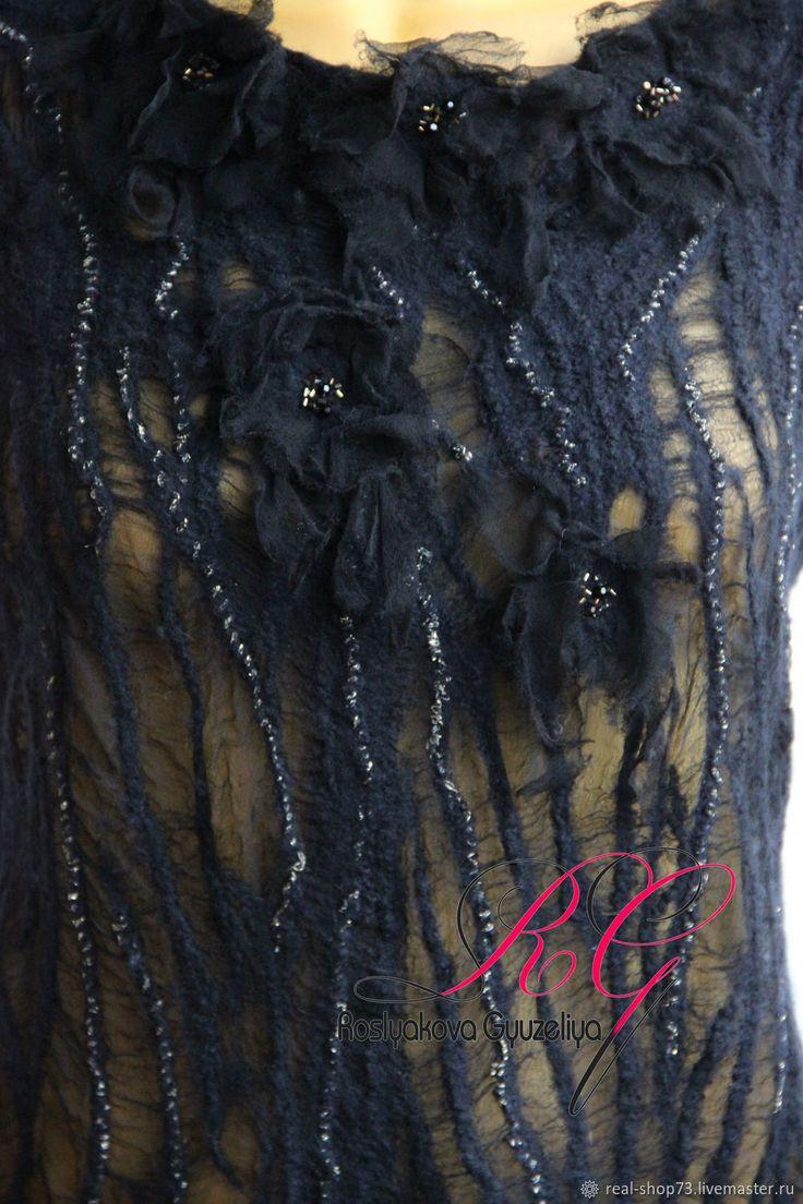 Купить или заказать Валяная блуза-топ Таинство ночи в интернет магазине на Ярмарке Мастеров. С доставкой по России и СНГ. Материалы: 100% мериносовая шерсть, 100% шёлк,…. Размер: 48-52,технология изготовления позволяет…
