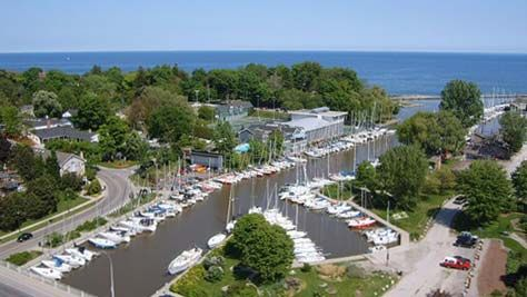 Oakville's extensive Lake Ontario shoreline includes two harbours: Bronte Harbour on Bronte Creek and Oakville Harbour on Sixteen Mile Creek near the downtown core. The harbours are owned by the town and operated by the Parks and Open Space department.