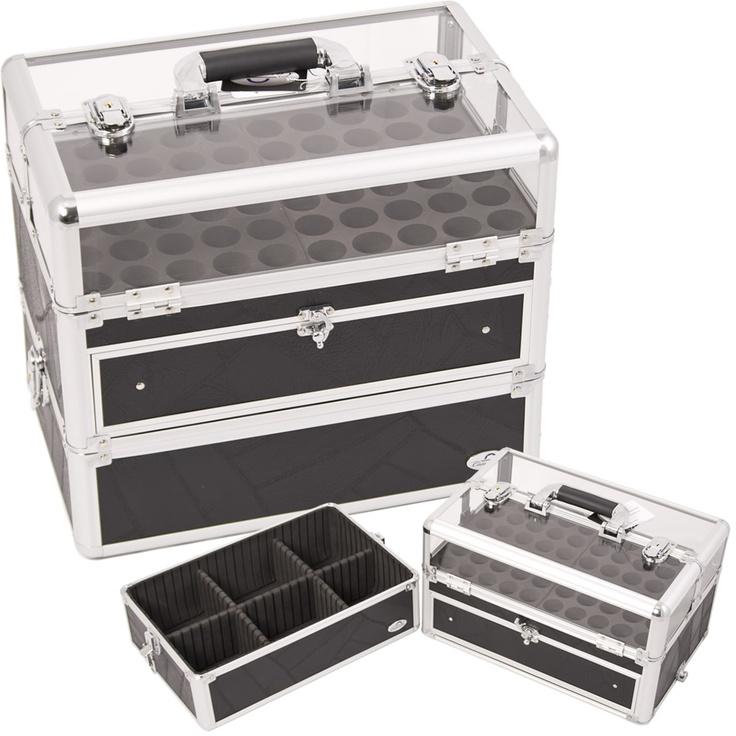 Clear Top Nail Polish Organizer Manicure Case Foundation Holder C315 Zebra Box | eBay