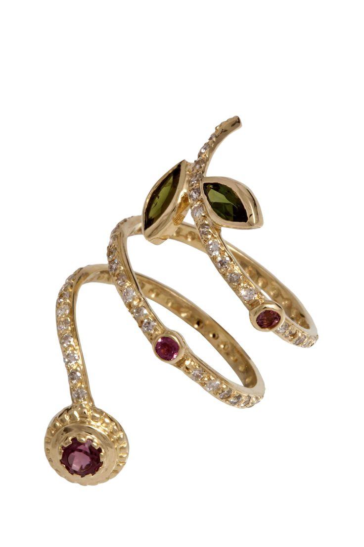 Hania Kuzbari Arabesque Collection ring of 18K yellow gold, white diamond, pink and green tourmaline // http://haniakuzbari.com/arabesque.php