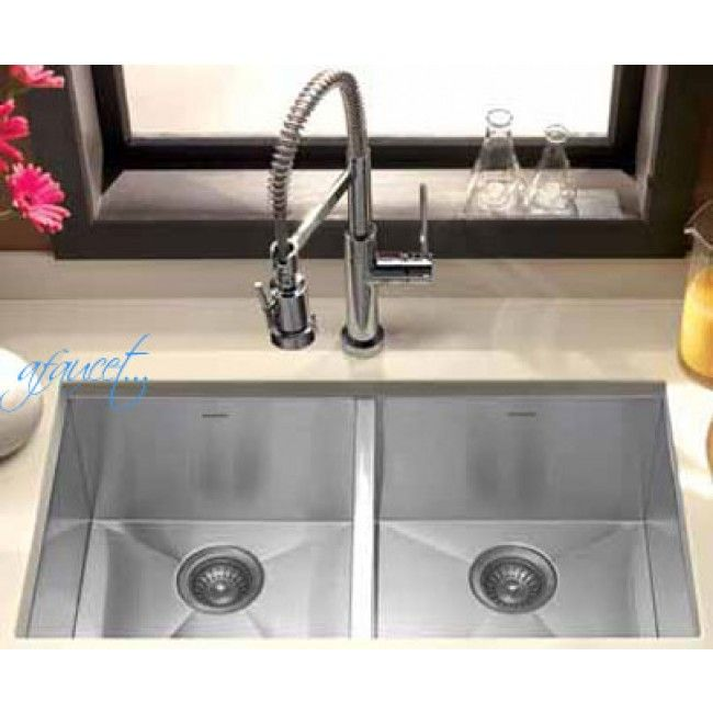 37 Inch Stainless Steel Undermount 50/50 Double Bowl Kitchen Sink Zero Radius Design