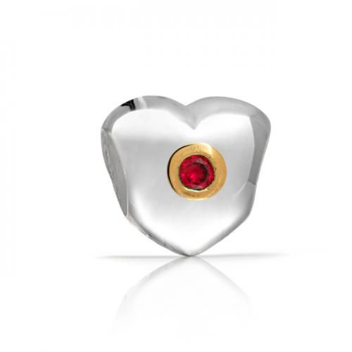 Holiday Heart Red 925 Sterling Silver July Birthstone Bead Chamilia Compatible