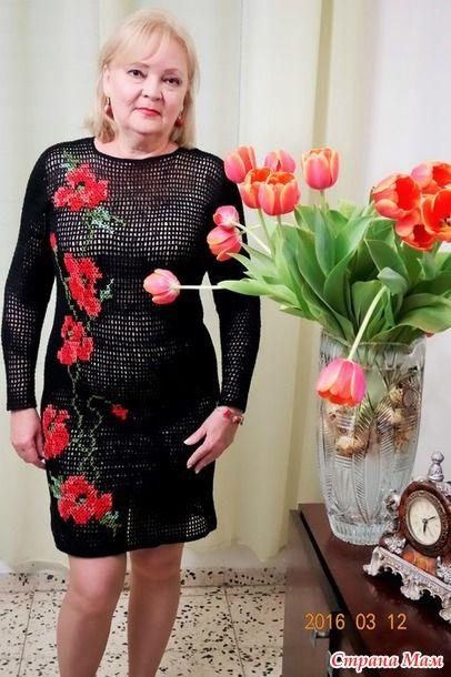 """"""" Маки """" - платье филейной сеткой и вышивкой - Вязание - Страна Мам"""
