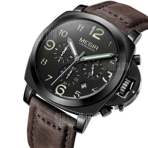 MEGIR Mens Watches Genuine Leather Band Men Quartz Watch Stainless Steel…