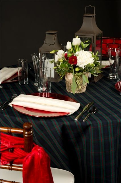 Plaid and Red make for a beautiful classic holiday tablescape.