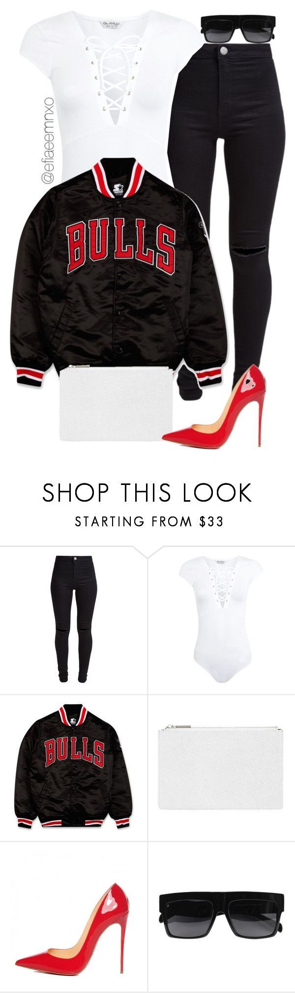 Bulls by efiaeemnxo ❤ liked on Polyvore featuring New Look, Miss Selfridge, Starter, Whistles, Christian Louboutin, womens clothing, women, female, woman and misses
