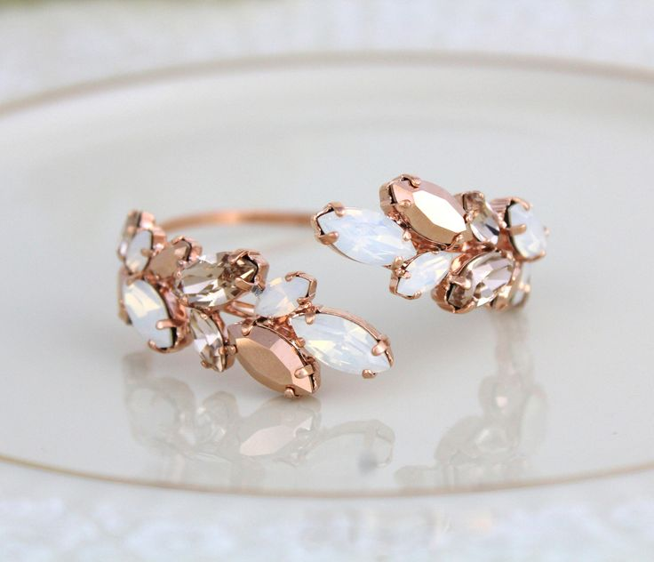 Bridal Bracelet Jewelry Rose Gold Bracelets Wedding Gifts Swarovski Crystals White Opal Blush S Presents Day