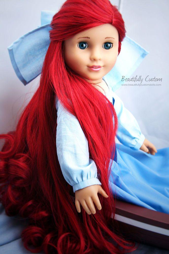 Custom American Girl Doll Mermaid Princess with Long Red Hair, Blue Eyes ~Ariel #Dolls