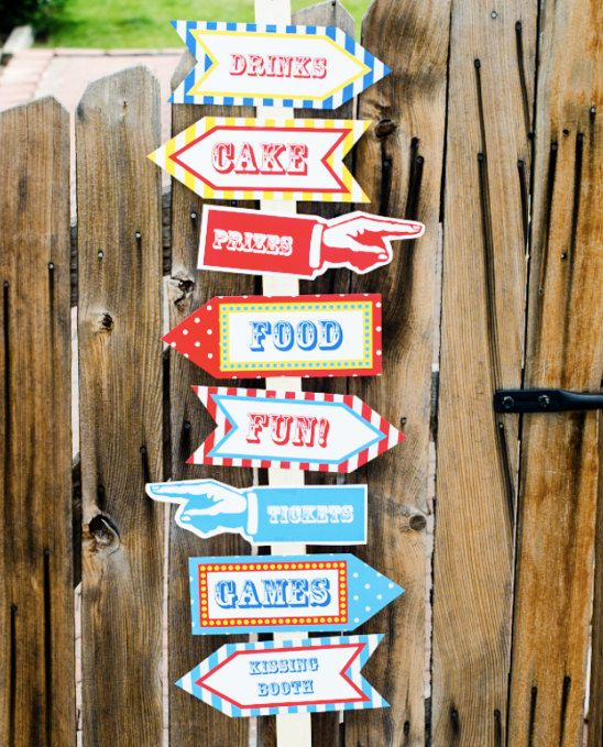 Carnival Party Signs Printable- Editable Text PDF- Instant Download- Personalize at home with Adobe Reader- Red White & Blue- Dots - Stripes on Etsy, $4.50
