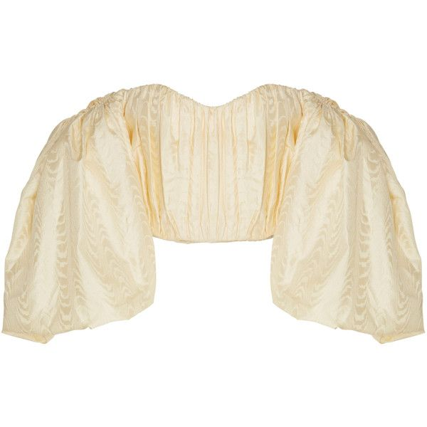 Lady Chatterly Bubble Sleeve Top | Moda Operandi (€1.785) ❤ liked on Polyvore featuring tops, puffed sleeve top, off the shoulder tops, brown top, off shoulder tops and puff shoulder top