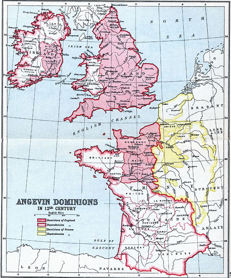 Angevin Dominions, 1154 to 1485 A map showing the possessions of England and France and the dominions dependent on England and France in the 12th Century, after the Norman Conquest and during the Angevin Empire of Henry II and the House of Plantagenet