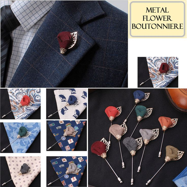 Men's Accessories Metal Flower Boutonniere Brooch Lapel Pin Tuxedo Corsage Prom #hellobincom