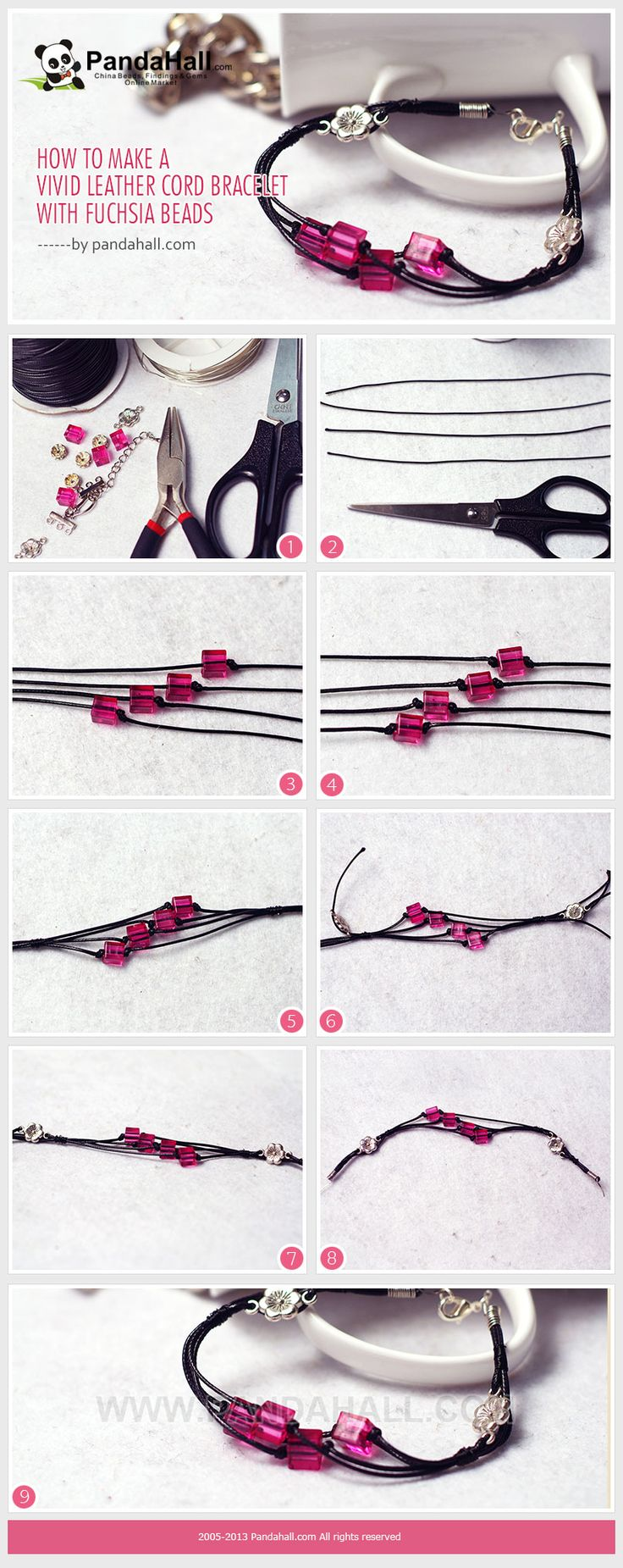 How to Make a Vivid Leather Cord Bracelet with Fuchsia Beads or any colour to your liking