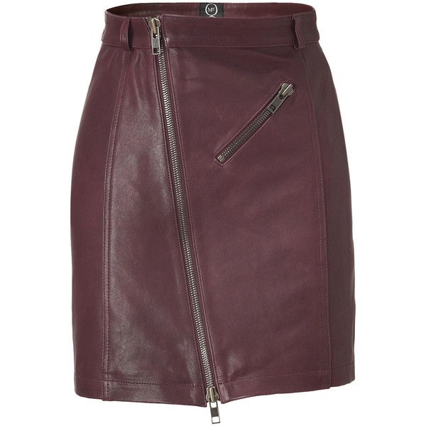 MCQ BY ALEXANDER MCQUEEN Oxblood Zip Leather Pencil Skirt ($277) ❤ liked on Polyvore featuring skirts, bottoms, saias, alexander mcqueen, zipper pencil skirt, leather zipper skirt, purple leather skirt, leather skirt and pencil skirt