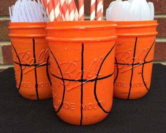 Hand Painted Basketball Birthday Decor. by MonisMasonCreations
