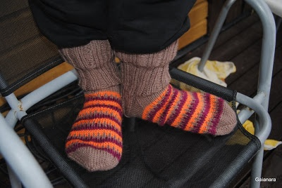 Knitted multicolored woolen stockings