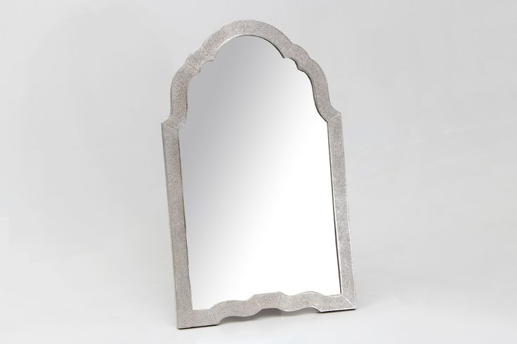 Dressing table mirror in silver shagreen