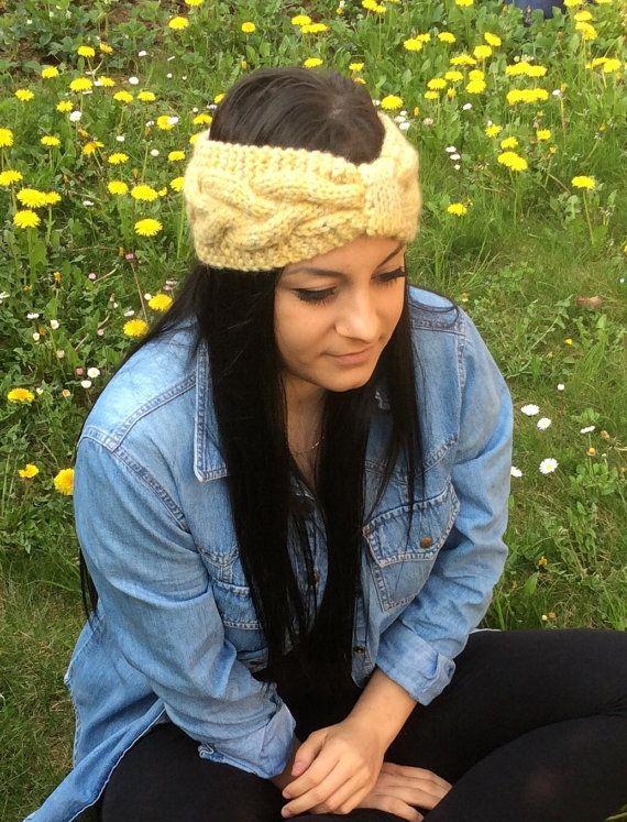Fascia capelli di lana Alpaca a maglia di KnittinCafe su Etsy