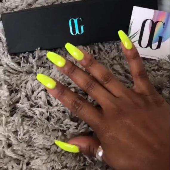 Neon Yellow Press On Nails Acrylic Nails Nail Art Fake Nails Glitter Nails Nail Decals Gift F Press On Nails Acrylic Nails Coffin Coffin Nails
