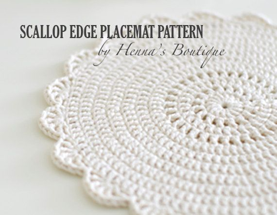 Crochet Placemat Pattern Scallop Edge Placemats by hennasboutique