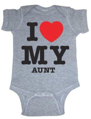 "New Baby?  New Aunt?  Gift idea:  ""I Heart My Aunt"" Onsie @ Amazon"