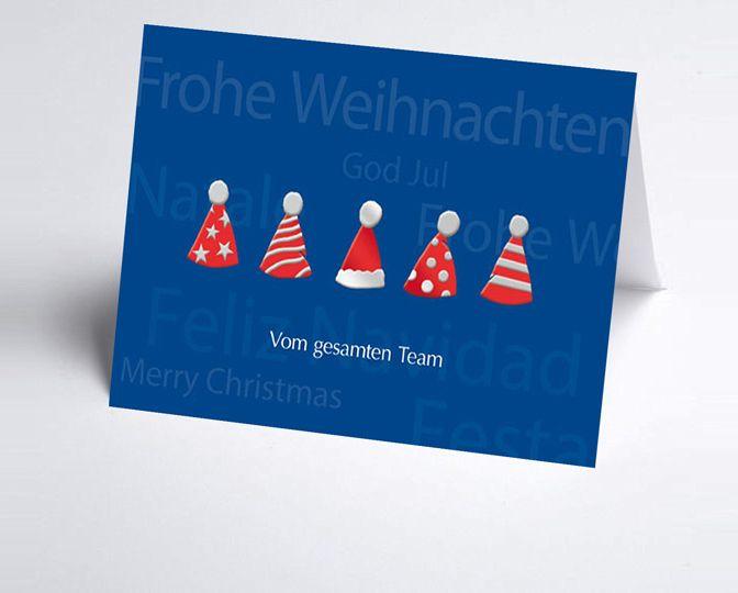 Team-Weihnachtskarte in blau mit lustigen Nikolausmützen http://www.weihnachtskarten-plus.de/weihnachtskarten/teamwork-weihnachtskarte/752-artnr-150164-a-teamkarte-nikolausmuetze.html