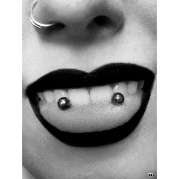 Double tongue piercing Body modification ❤ liked on Polyvore featuring jewelry, piercings, accessories, pictures, modeled and pin jewelry
