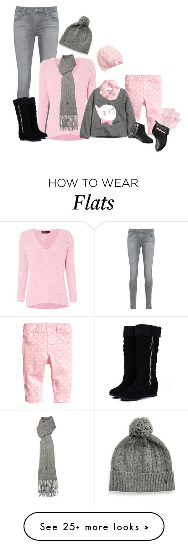 """""""Mommy & Me pink and grey"""" by kurlyglamour on Polyvore featuring H&M, AG Adriano Goldschmied, Polo Ralph Lauren, Gymboree and Carter's"""