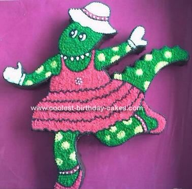 Dorothy the Dinosaur in her Tutu Cake: I make character birthday cakes for children's birthday parties and someone asked for a Dorothy the Dino and, well, this is what I came up with. The design