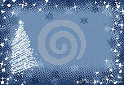 Christmas blue background, bitmap illustration