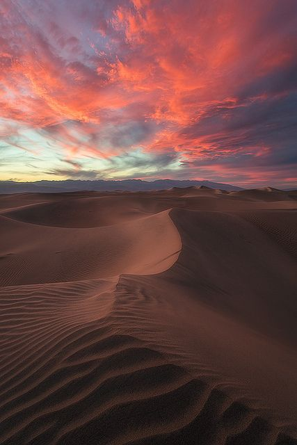 Death Valley National Park, California...breathtaking sunset.  It was so very hot, be prepared with plenty gas and water!