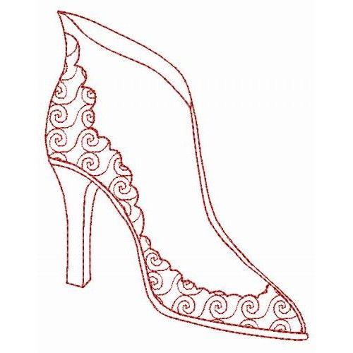 Dress up shoes redwork designs by technique machine Fashion embroidery designs
