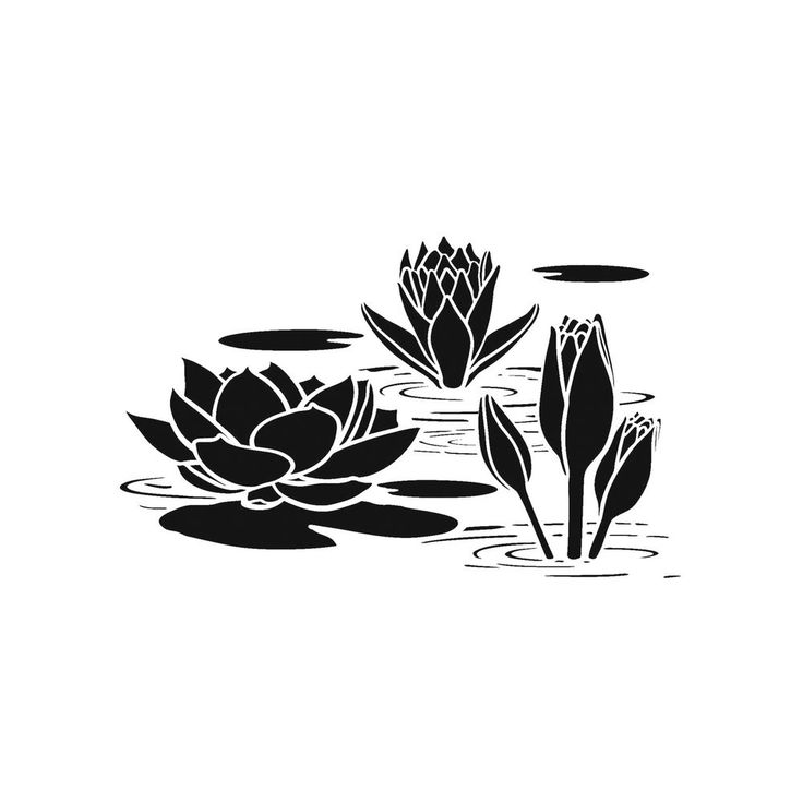 Water Lily Stencil Black And White