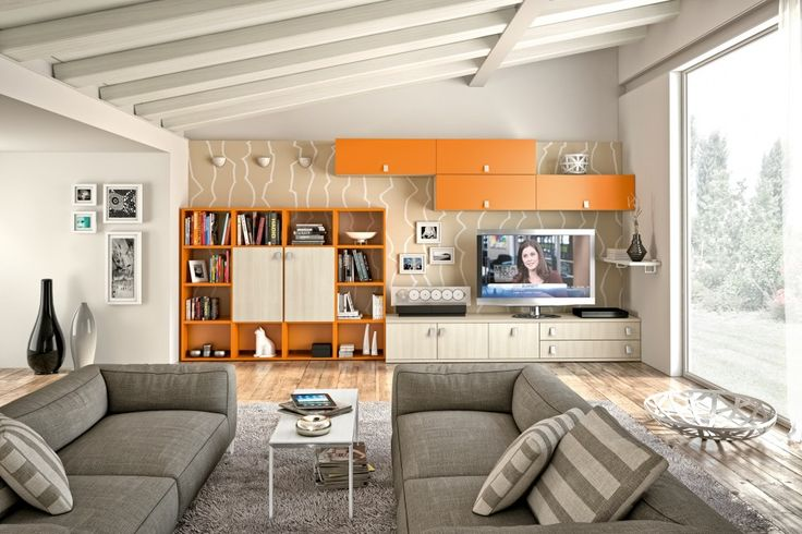 Orange And Beige Wall Storage Unit With High Mounted Cabinet Tv Stand Low Console And Modular Open With Attractive Wall Storage And Cabinet ...
