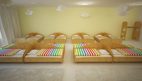 rainbow kindergarten interior design by kristiana cvetanova, via Behance  I love the whole idea of having a room set up for nap!  So beautiful