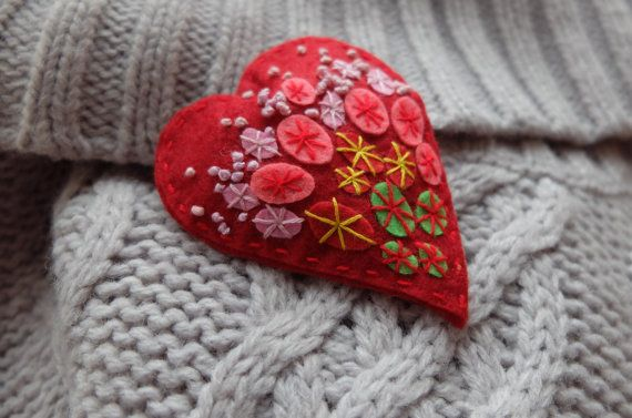 Hey, I found this really awesome Etsy listing at https://www.etsy.com/listing/263878963/gift-for-her-red-heart-felt-brooch