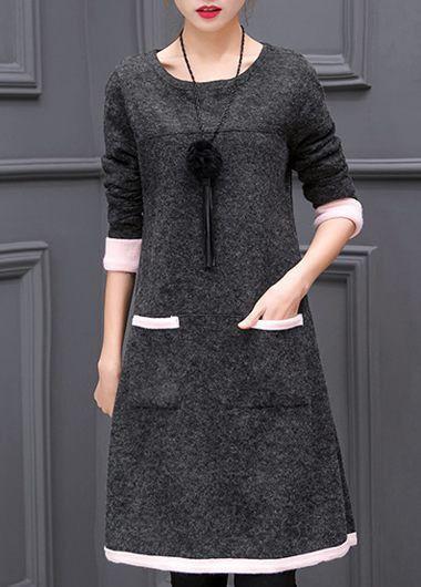 Black Round Neck Long Sleeve Sweater Dress  on sale only US$30.64 now, buy cheap Black Round Neck Long Sleeve Sweater Dress  at liligal.com