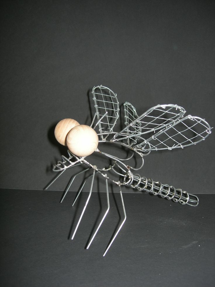 Opdracht:  Insect. Materiaal: ijzerdraad, hout, roofmate.