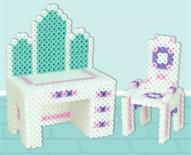 Perler beads doll house vanity and chair