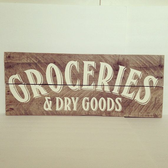 Groceries & Dry Goods Vintage Kitchen Wood by TheCreativePallet