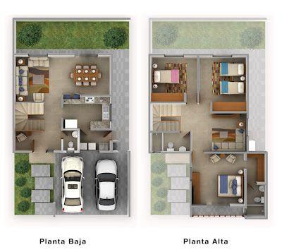 Planos de Casas y Plantas Arquitectónicas de Casas y Departamentos: Plano de casa de dos plantas con cochera techada