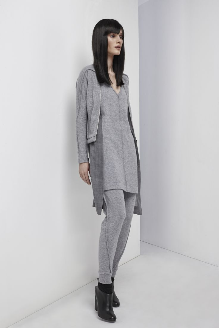 NUBU QODS cardigan / NUBU TALLIN dress / NUBU RIBEIRA trousers