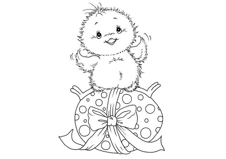 Раскраски.онлайн :: Раскраска цыплёнок на пасхальном яичке ...