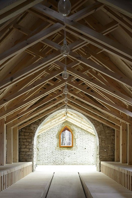 structure | space | seating | raised floor Chapel St Genevieve / OBIKA Architecture