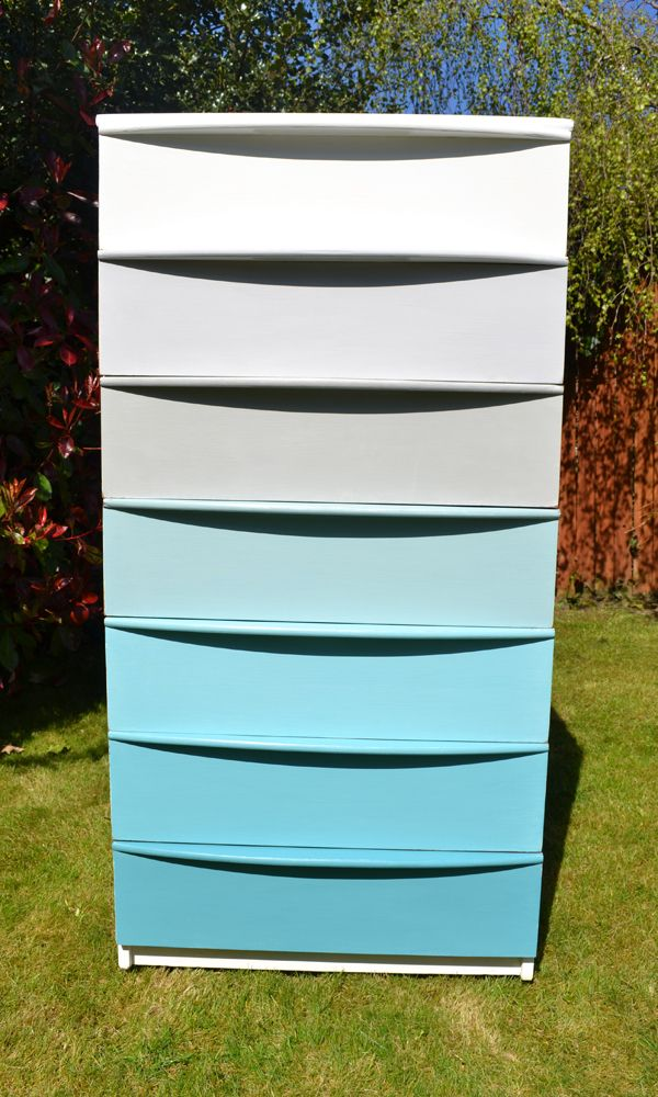 A chest of drawers (up-cycled by me) likened to a Dulux colour chart! Love the background colours of this shot.