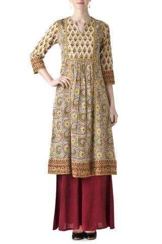 Elegant Front Pleated Mughal Kurta from Farida Gupta's studio. Insipred from the mughal era , we celebrate our beautifu & colorfull history