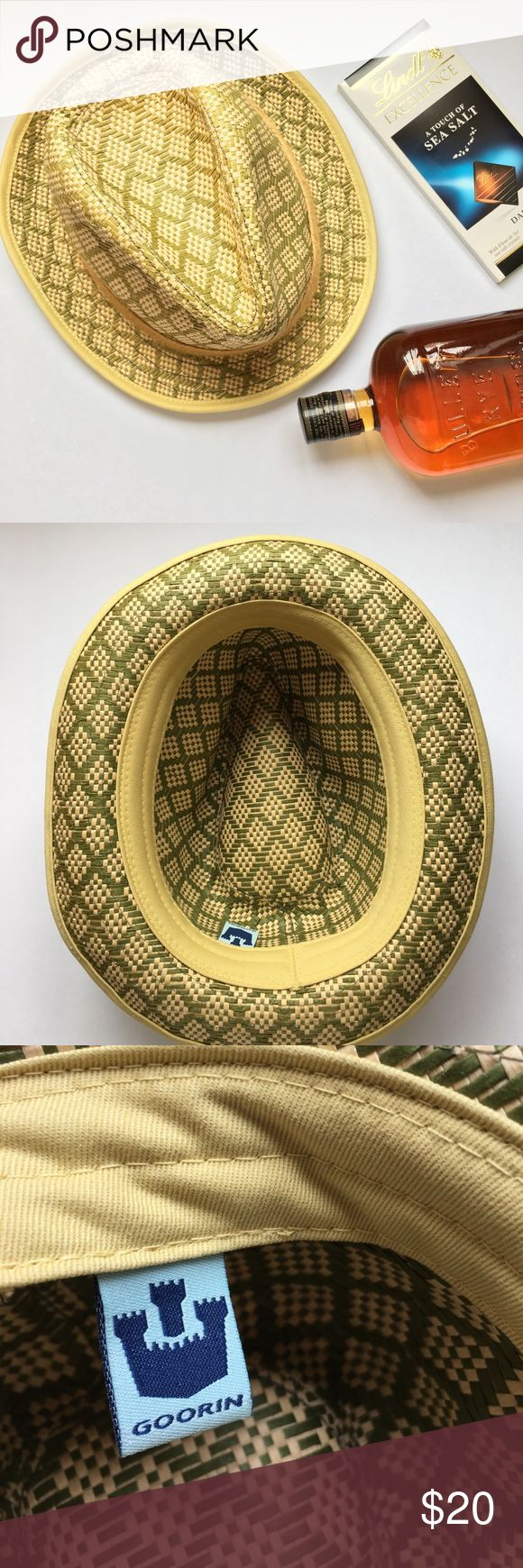 Goorin Straw Fedora Beach Hat Men's (or women's) Perfect for beach getaway this spring or summer. Natural straw and dyed olive green weave. Goorin is one of the well known haberdasheries left- excellent hat with some minor pulls in the top crease of hat (see last photo). size medium in man but a great unisex hat. Lots of vacation life left! Goorin  Accessories Hats