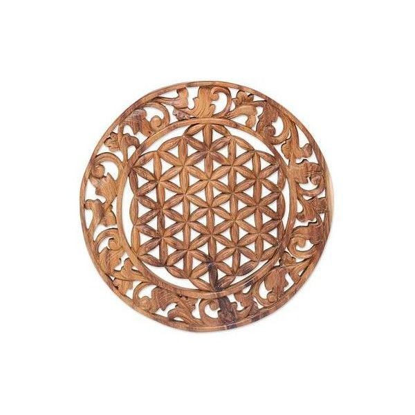 NOVICA Hand Carved Circular Suar Wood Relief Panel from Bali ($68) ❤ liked on Polyvore featuring home, home decor, wall art, brown, relief panels, wall decor, hand carved figurines, six sided figure, wooden wall art and hand carved wooden figurines