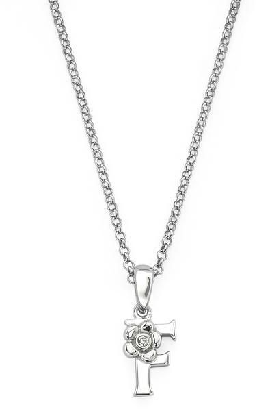 "Little Diva Diamonds Little Diva Silver Initial ""F"" Necklace with Diamond Accents for Children"