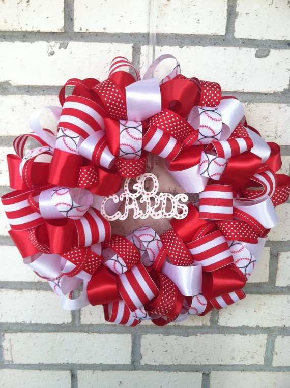 St Louis Cardinals 10 Inch Ribbon Wreath Home Decor By Ekieffer11 32 00